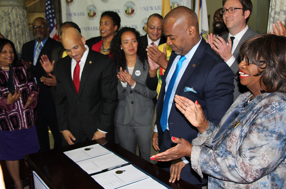 Newark Mayor Ras Baraka at the signing ceremony for the city's new independent civilian complaint review board.
