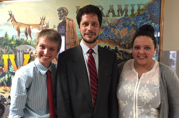 Bria Frame and Will Welch (local organizers) and Melanie Vigil at the NDO vote. The ordinance passed on a 7-2 vote.