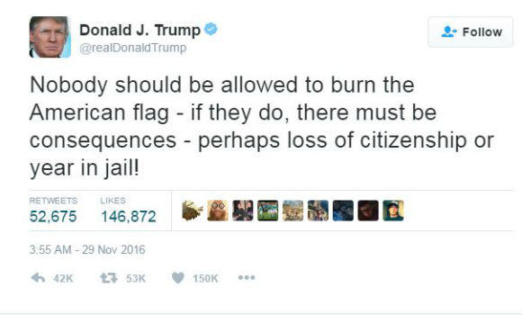 Trump's Flag Burning Tweet