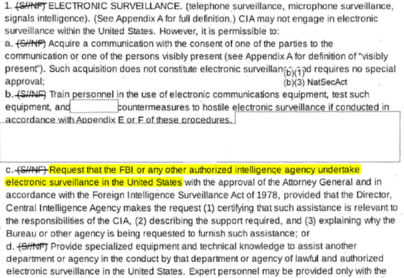 HIGHLIGHTED PORTION: Request that the FBI or any other authorized intelligence agency undertake electronic surveillance in the United States