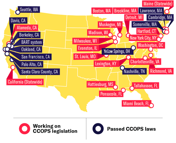 Cities that have passed or are working on ccops legislation