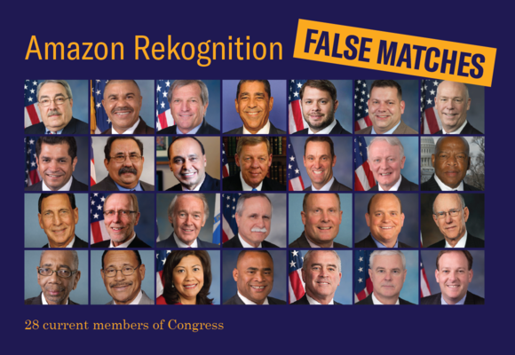 Amazon Rekognition False Matches of 28 member of Congress. Image: © 2018 ACLU