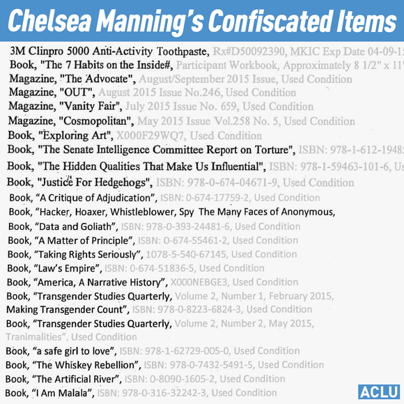 Chelsea Manning's confiscated items