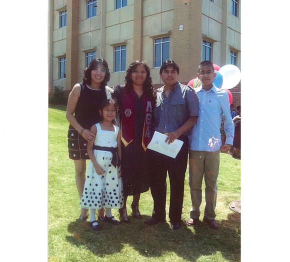 Jessica and family at her college graduation