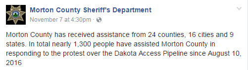 Tweet by Morton County Sheriff's Department