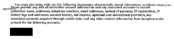 Excerpt from subpoena showing demand for data
