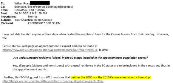 Your question on the Census email