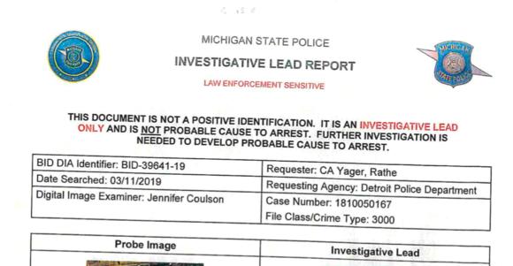 MPD Investigative Lead Hit
