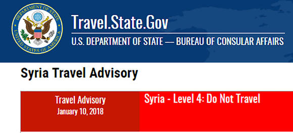 U.S. Department of State, Syria travel advisory