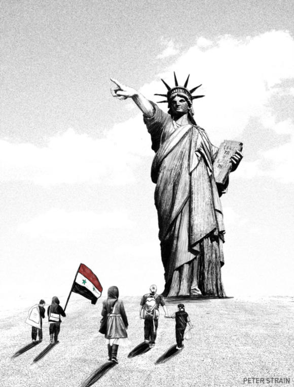 Syrians approach Statue of Liberty