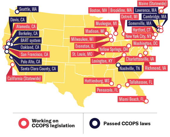 Map of cities working on or that have passed CCOPS laws
