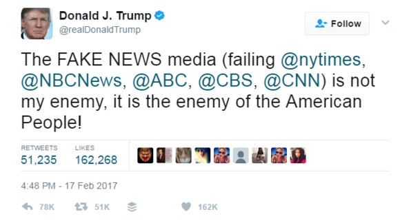 Donald Trump tweet about fake news