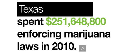 Texas spent $251,648,800 enforcing marijuana laws in 2010.