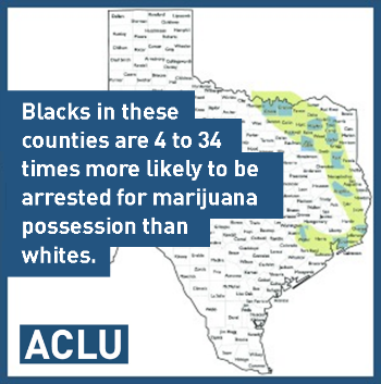 Blacks in these counties are 4 to 34 times more likely to be arrested for marijuana possession than whites.