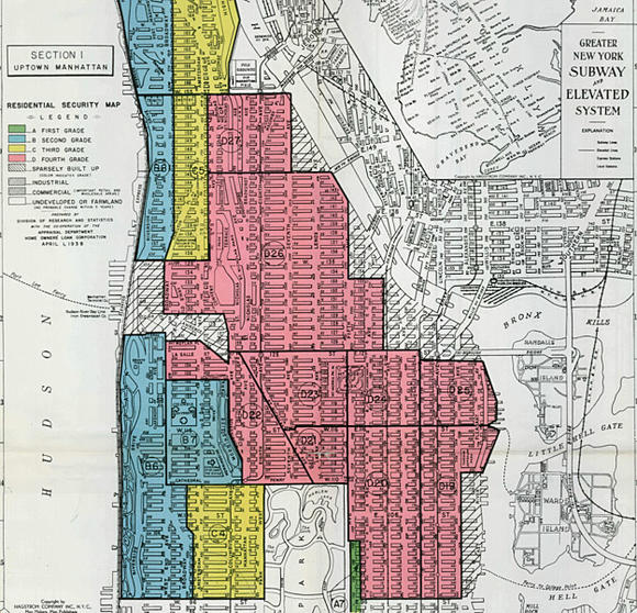 Home Owners' Loan Corporation (HOLC) redlined map of Manhattan from 1938.