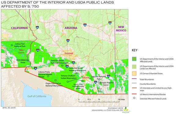 U.S. Department of the Interior and USDA public lands affected by S. 750