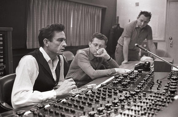Johnny Cash in the recording studio