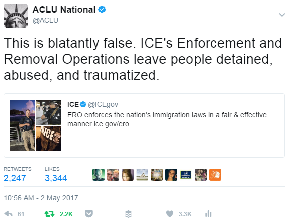 ACLU ICE tweet