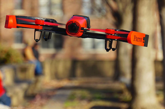 Red drone outdoors