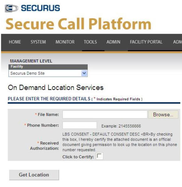 Securus Secure Call Screenshot