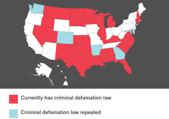 Map of States With Criminal Laws Against Defamation