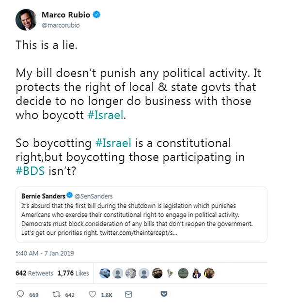 Marco Rubio: This is a lie. My bill doesn't punish any political activity. It protects the right of local & state govts that decide to no longer do business with those who boycott #Israel.