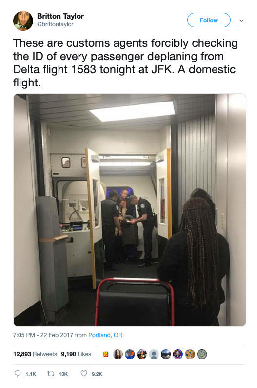 A Tweet with a photo of the agents checking IDs of the the passengers on Delta Flight 1583