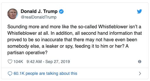 Donald Trump tweet 9:42 AM - Sep 27, 2019