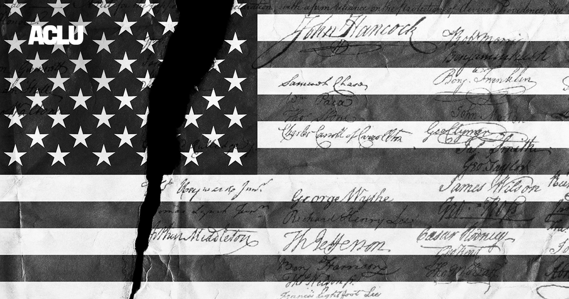 Black and white American flag with the signatures of the founding fathers