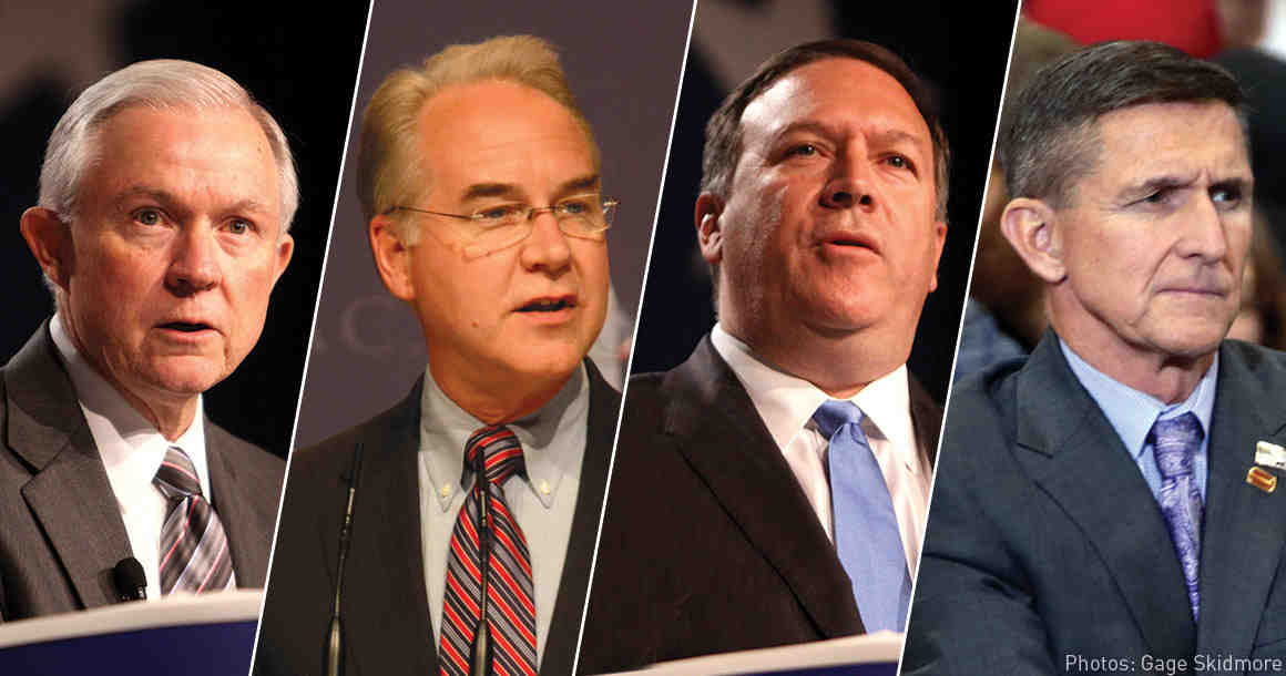 Jeff Sessions, Tom Price, Mike Pompeo, and Michael Flynn