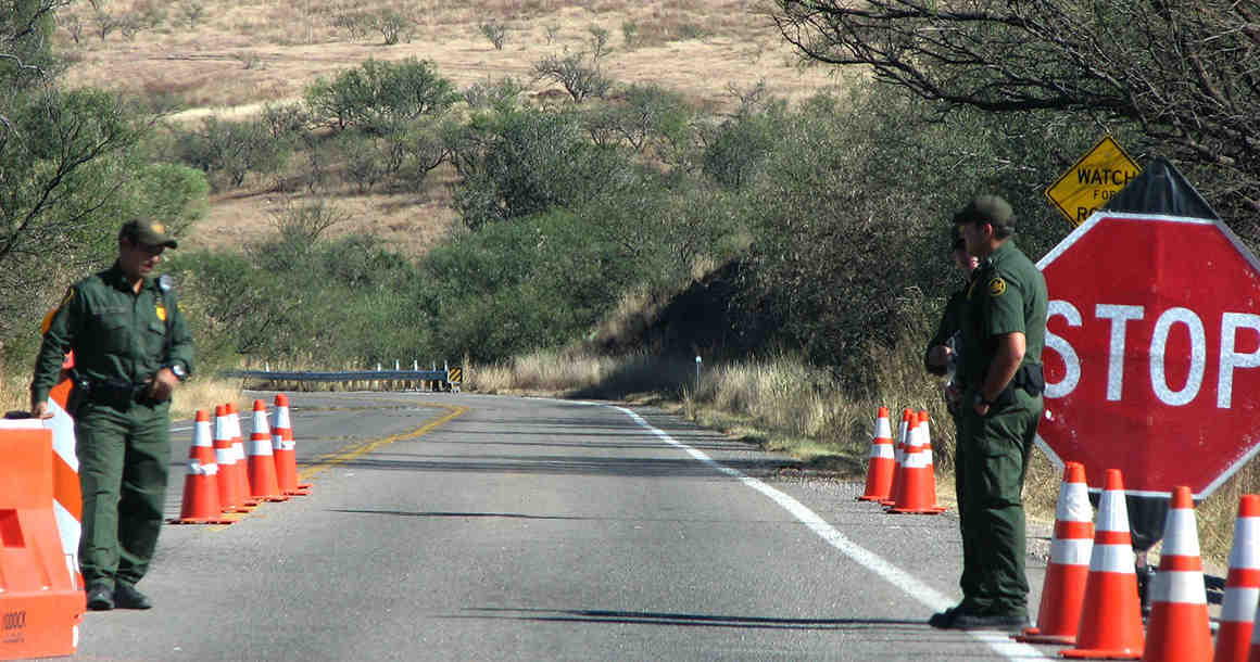 Border agents on road