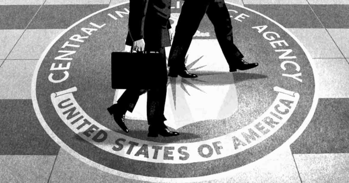 CIA agents walking across floor with CIA seal
