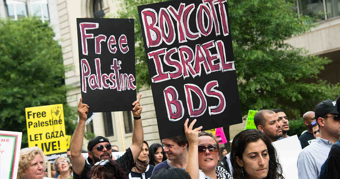 "Protesters at a ""boycott Israel"" rally"