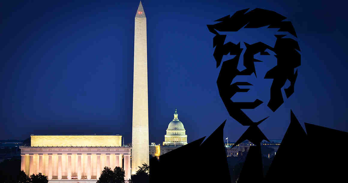 Donald Trump silhouette in front of Jefferson memorial and Capitol