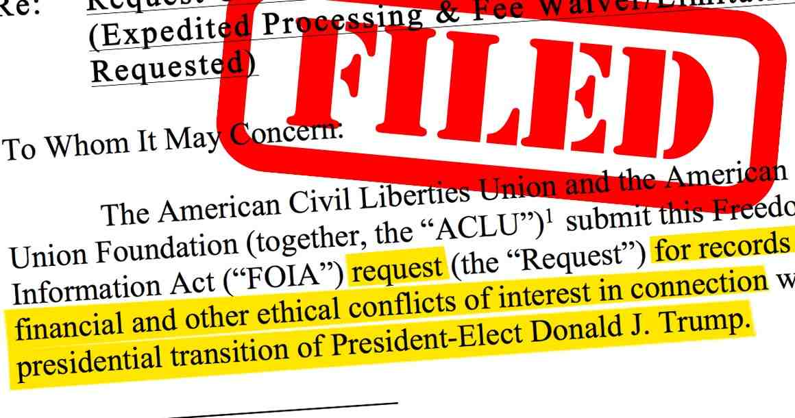 """Filed"" stamped on FOIA request"