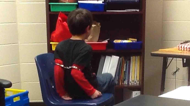 Third grader in handcuffs