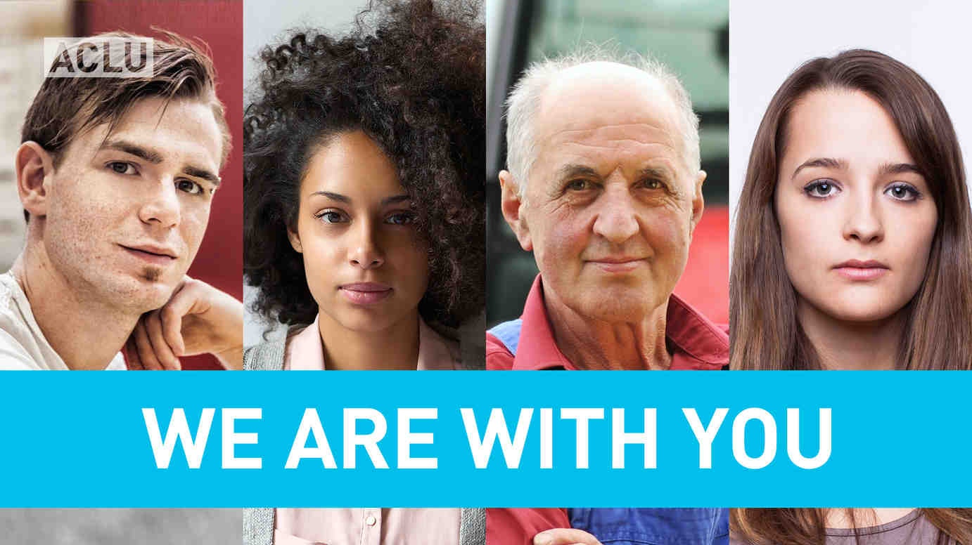 """We Are With You"" over montage with people of varied ages and backgrounds"