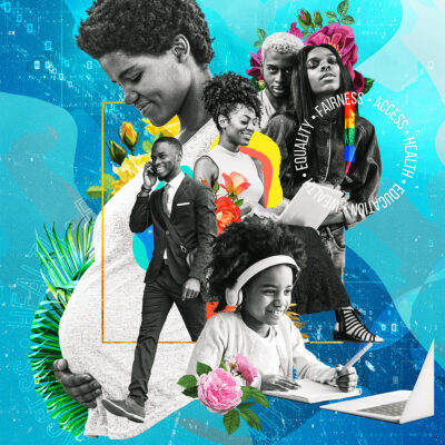 Collage by Greg Dubois, including an image of a black child working on a laptop