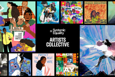 """A banner containing the visual art pieces from the 10 emerging artists, with the words """"Systemic Equality Artists Collective"""" in the center of the banner."""