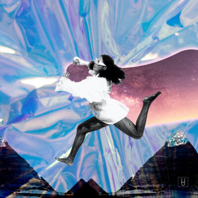 Collage by Alexa Lima with a woman jumping and flying in an iridescent sky with mountains in the background