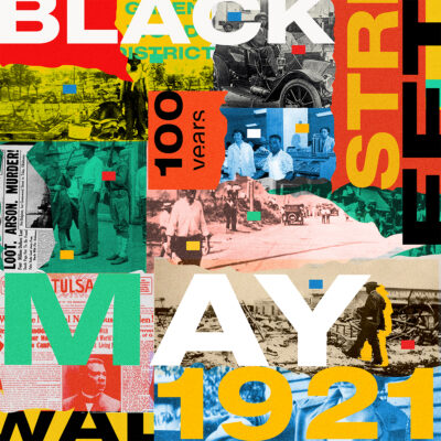 Collage by Danielle Uche Oji of words that commemorate Black Wall Street of 1921