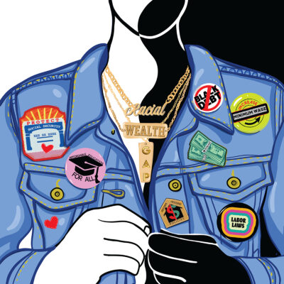 A visual piece by Justine Swindell of a denim jacket with clip on buttons representing various political and social movements