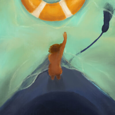 A visual piece by Nicole Abrokwa of a woman floating on the edge of her graduation cap as the tassle floats in a hazy sky and a circle life raft is in the distance.
