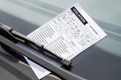 Traffic violation on a windshield.