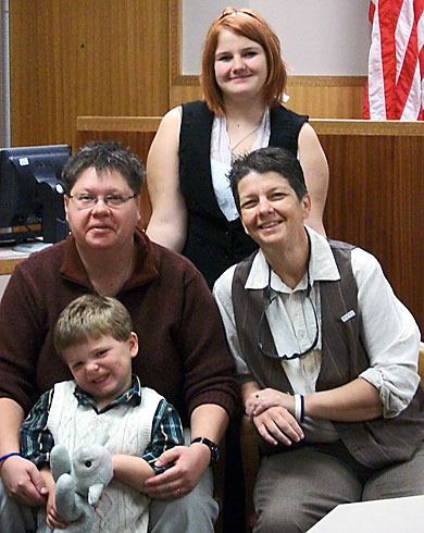 Denise (left) and Kellie (right) with daughter Jordan and son Morrgan