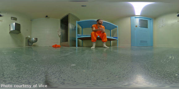 James Burns sit on his bunk during his 30-day stay in voluntary solitary confinement.